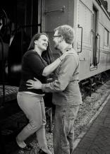 Nick & Laura Train B&W
